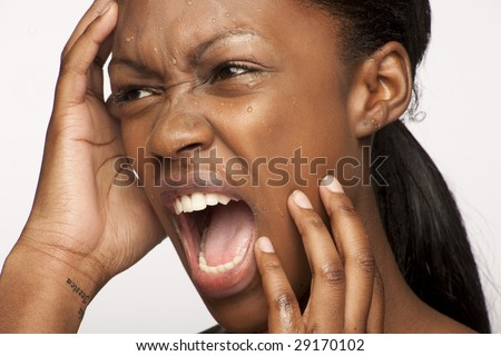Beauty black skin woman with nice screaming expression - stock photo