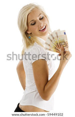 beauty blond woman in white shirt with a fan of euro money smiling and looking down - stock photo