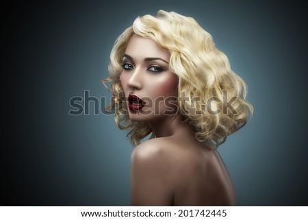 beauty blonde shoulder - stock photo