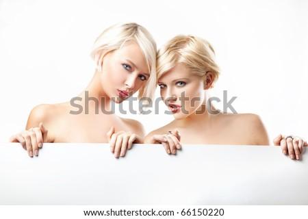 Beauty blonde women - stock photo