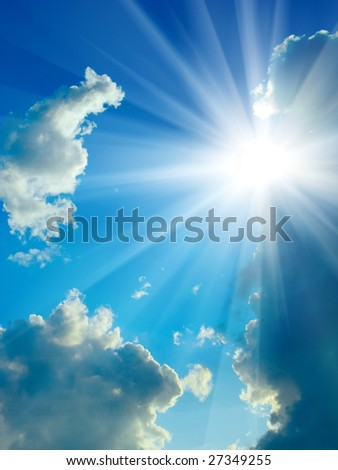beauty blue sky clouds and sun close up - stock photo