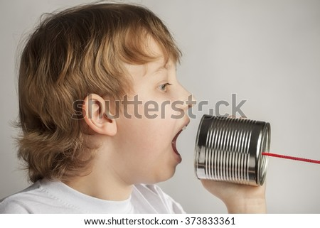 beauty boy speak in tin can telephone