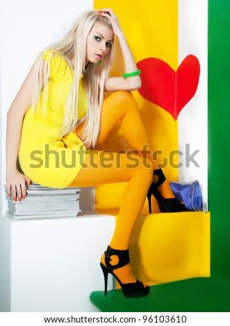 Beauty bright portrait of a fresh beautiful blonde fashion sexy mod - stock photo