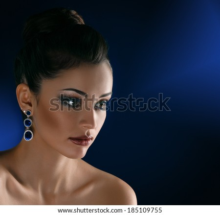 beauty brunette - stock photo