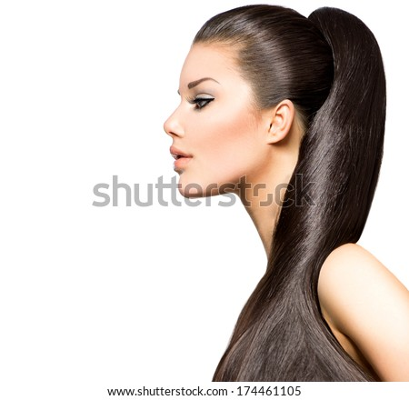 Beauty Brunette Fashion Model Girl with Long Healthy Straight Brown Hair, Ponytail Hairstyle. Beautiful Woman with brown long Healthy Smooth Straight hair  - stock photo