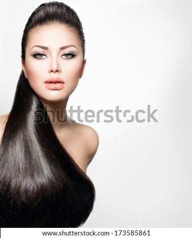 Beauty Brunette Fashion Model Girl with Long Healthy Straight Hair, Ponytail Hair. Hairdo. Trendy hairstyle. Beautiful Woman with brown long Healthy smooth hair - stock photo