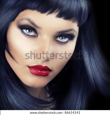 Beauty Brunette Girl - stock photo