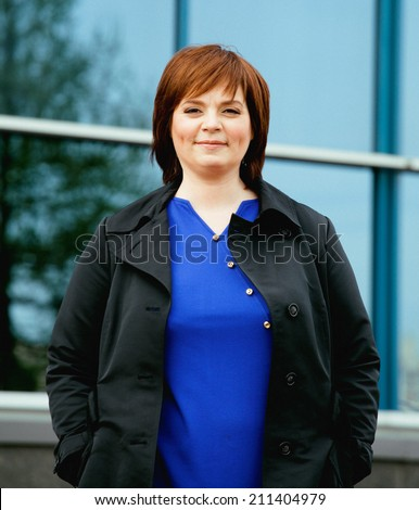 beauty brunette mature woman outside, business people at work - stock photo