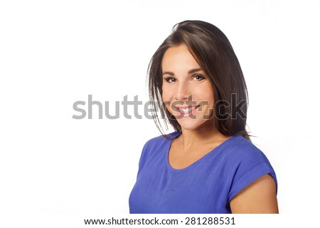 beauty brunette woman- head shot on white background - stock photo