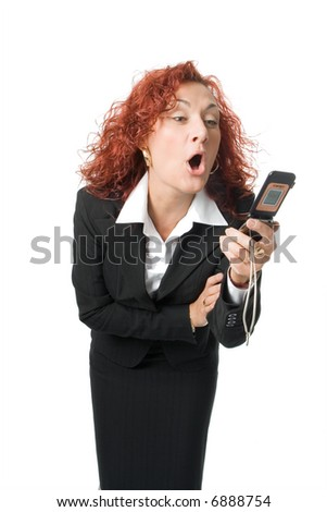 beauty business anger woman scream  into cell phone over white background