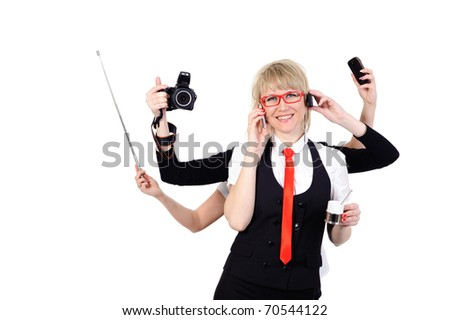 beauty business woman with six arms for multitasking conception - stock photo
