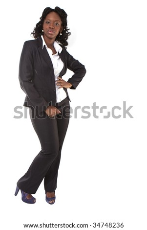 beauty businesswoman standing isolated on white - black afro american african - stock photo