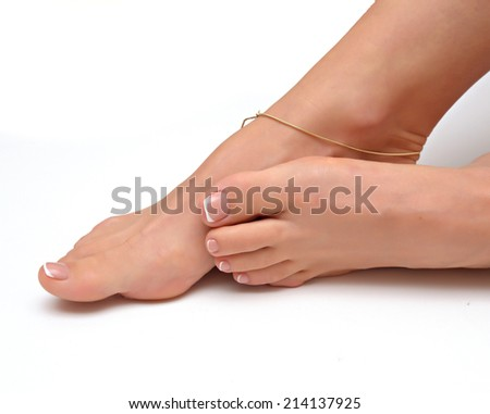 Beauty care concept with legs - stock photo