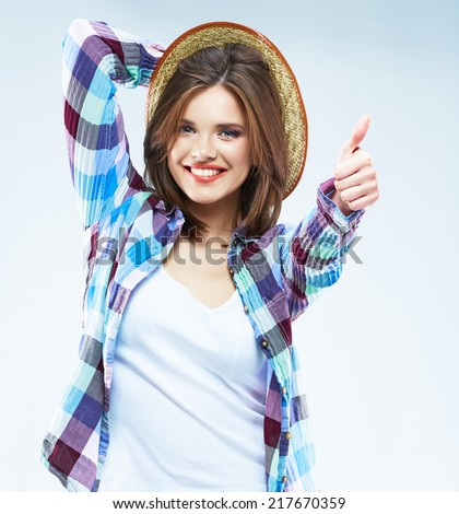 Beauty caucasian woman fashion posing in casual clothes. Thumb up. - stock photo