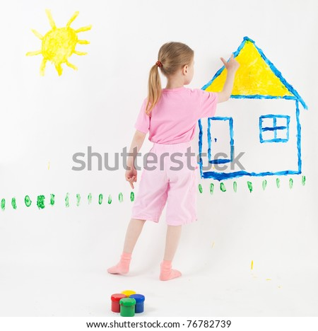 beauty child painting - stock photo