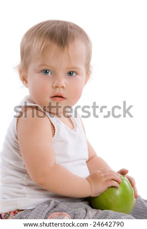 Beauty child with green apple