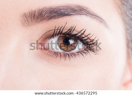 Beauty close-up on a brown eye with mascara and natural skin look concept