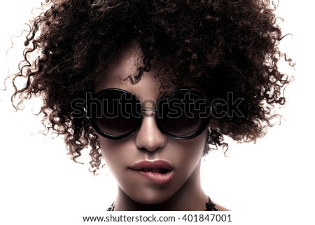 Beauty closeup portrait of young  african american girl with afro. Ideal skin. - stock photo