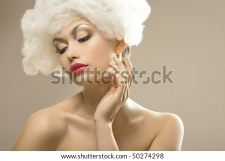 Beauty cloudy  white hair girl,Fashion Model. - stock photo