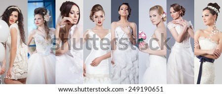 Beauty collage. Beautiful and fashion bride - stock photo