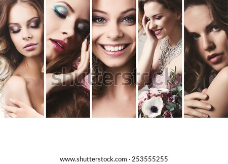 Beauty collage. Faces of women. Fashion photo - stock photo