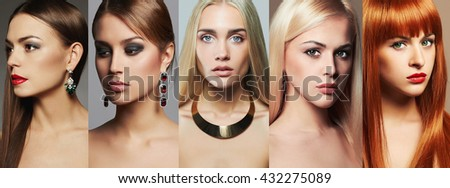 Beauty collage. Faces of women. Fashion photo. Makeup,lipstick and eye shadow. Different beautiful girls - stock photo