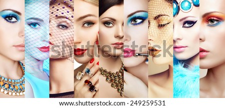 Beauty collage. Faces of women. Group of people. Fashion photo. Makeup and jewelry - stock photo