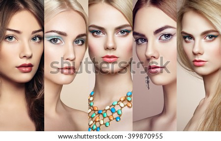 Beauty collage. Faces of women. Group of people. Fashion photo. Makeup and jewelry. Eyelashes. Cosmetic Eyeshadow. Highlighting - stock photo