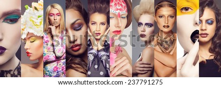 Beauty collage. Faces of women with fashion creative make-up - stock photo