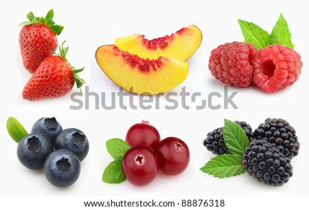 Beauty collage from berries - stock photo