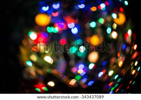 Beauty color blurred christmas and happy new year lights at night  - stock photo