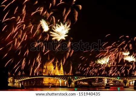 beauty colorful Fireworks Against a Black Sky - stock photo