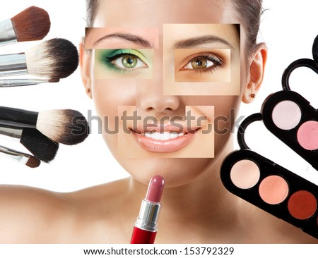 beauty concept collage of beautiful woman mixed faces, over white background - stock photo