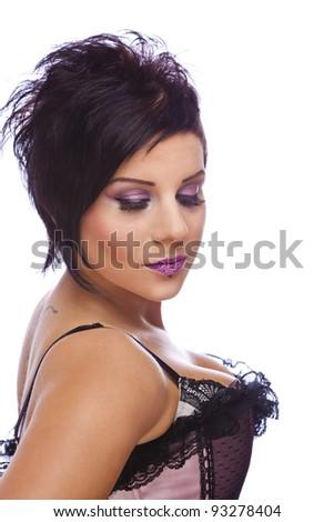 beauty concept - lashes, photographed on white studio background - stock photo
