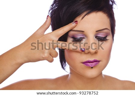 beauty concept - nails and lashes, photographed on white studio background - stock photo