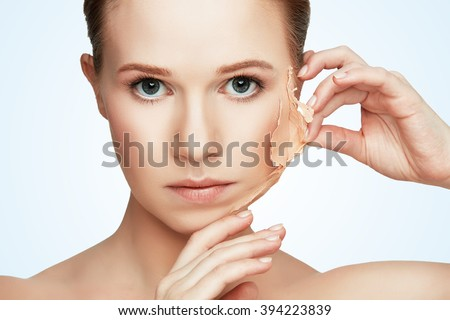 beauty concept rejuvenation, renewal, skincare and skin problems - stock photo