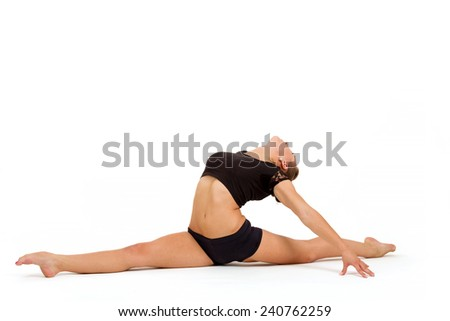 beauty contortionist practicing gymnastic yoga isolated on white background, Young professional gymnast woman