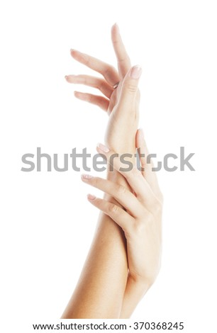 beauty delicate hands with manicure  close up isolated - stock photo