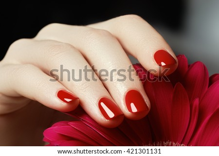 Beauty delicate hands with manicure holding pink flower  close up. Beautiful nails and flower close-up, great idea for the advertising of cosmetics. - stock photo