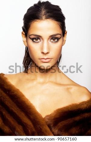 beauty diva looking model wearing fur - stock photo