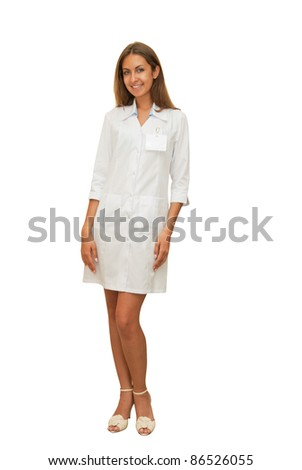 Beauty doctor woman isolated on a white background.