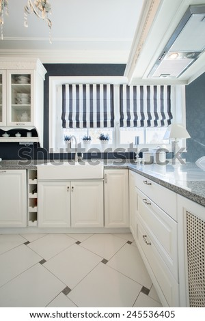 Beauty elegant kitchen interior in traditional style - stock photo