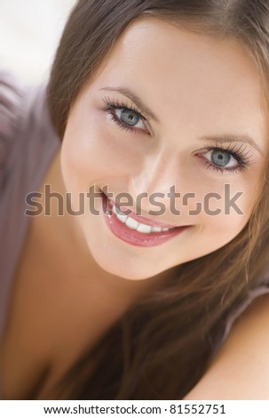 Beauty Face. Beautiful Smiling Girl - stock photo