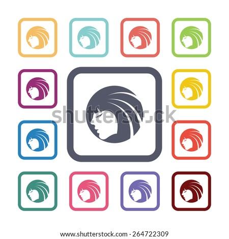 beauty face flat icons set. Open round colorful buttons.