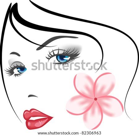 beauty face girl portret . elements for design. Raster version. - stock photo