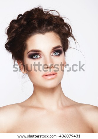 Beauty face makeup. Make up. Eyelashes extensions. Perfect Make-up closeup. Foundation. Cosmetic Eyeshadows, eyebrows. Beauty Girl with Perfect Skin. Eyelashes. - stock photo