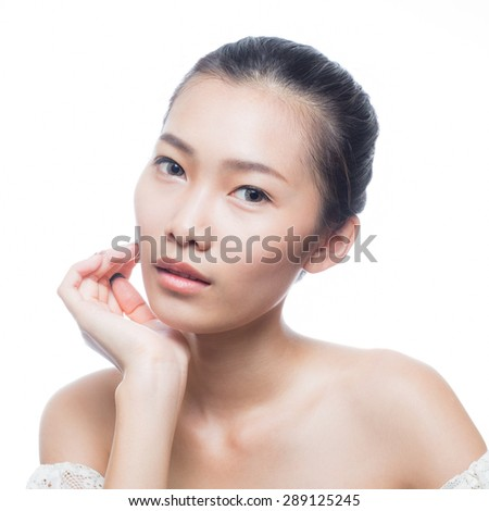 Beauty face of asian girl - stock photo