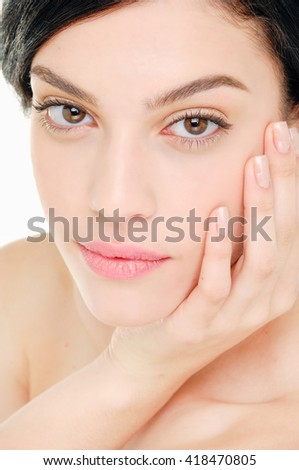 Beauty face of beautiful woman with clean fresh skin- - stock photo