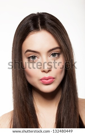 Beauty face of beautiful woman with fresh skin and long hair - stock photo