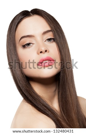 Beauty face of beautiful woman with long hair - stock photo